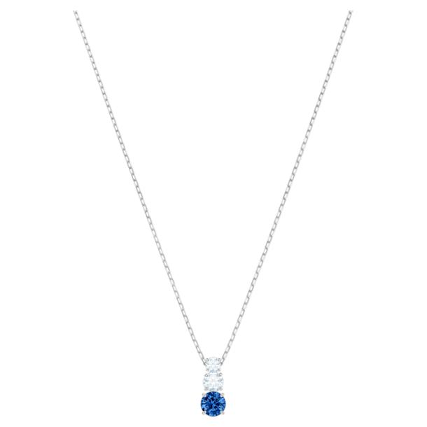 Colgante Attract Trilogy Round, azul, Baño de Rodio - Swarovski, 5416156