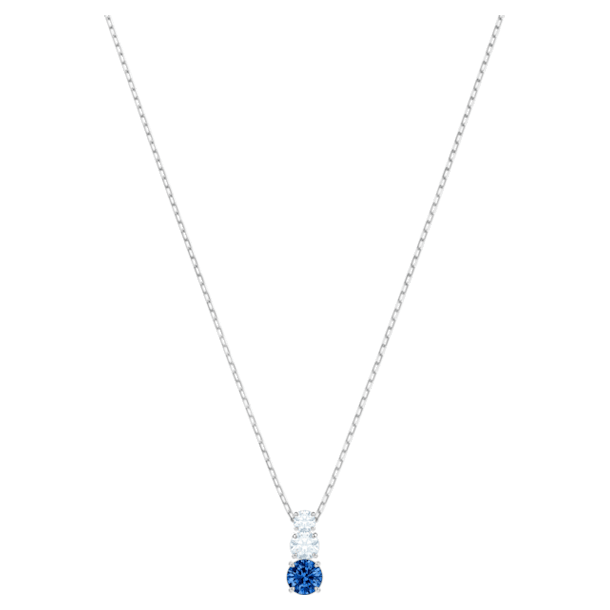 Attract Trilogy Round Pendant, Blue, Rhodium plated - Swarovski, 5416156