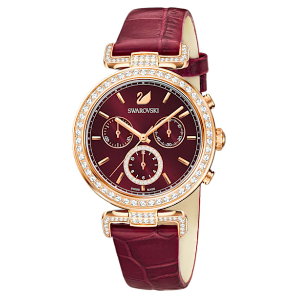 Era Journey Watch, Leather strap, Dark Red, Rose-gold tone PVD - Swarovski, 5416701