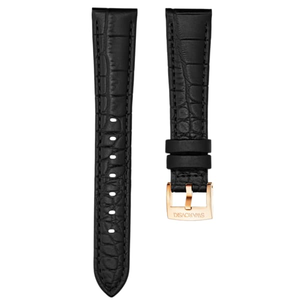17mm Watch strap, Leather with stitching, Black, Rose-gold tone plated - Swarovski, 5419163