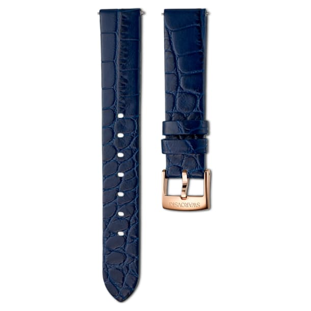 17mm Watch strap, Leather with stitching, Blue, Rose-gold tone plated - Swarovski, 5419165