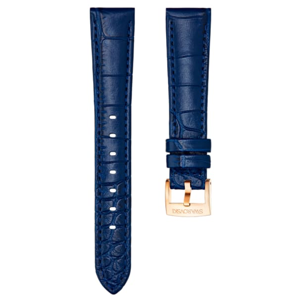 17mm Watch strap, Leather with stitching, Blue, Rose-gold tone plated - Swarovski, 5419166
