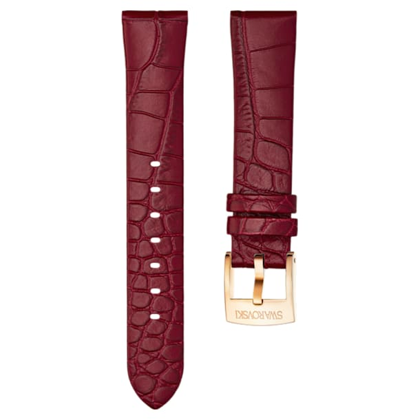 18mm Watch strap, Leather, Dark red, Rose-gold tone plated - Swarovski, 5419202