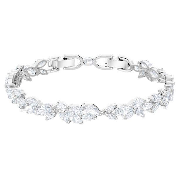 Louison bracelet, Leaf, White, Rhodium plated - Swarovski, 5419244