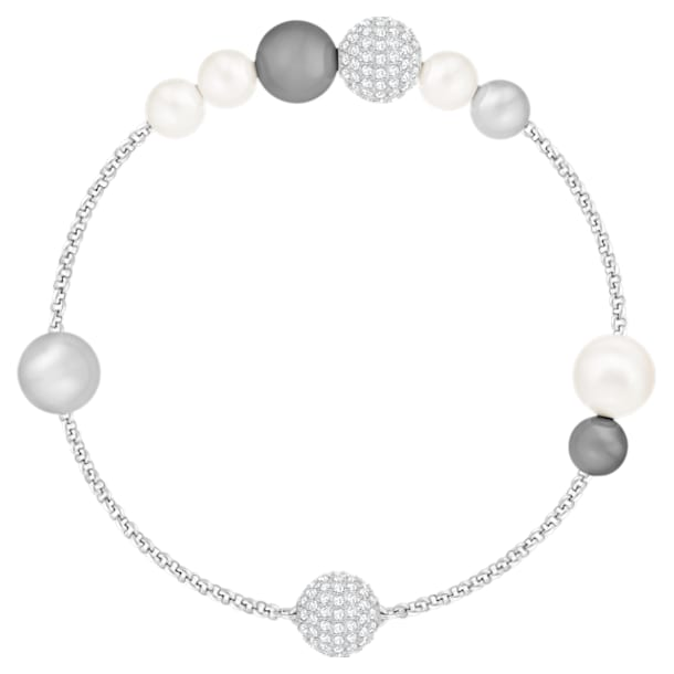 Řetízek s perlami z kolekce Swarovski Remix, Šedý, Rhodiem pokovený - Swarovski, 5421436