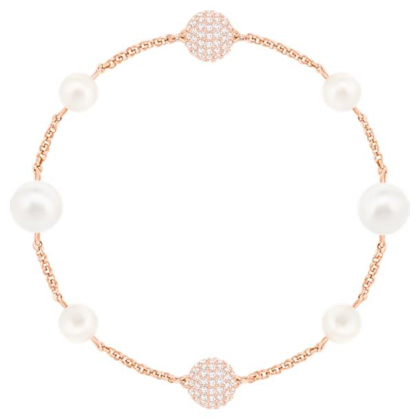 Kulatý řetízek s perlami z kolekce Swarovski Remix, Bílý, Pozlacený růžovým zlatem - Swarovski, 5421444