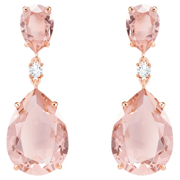 Vintage Drop Pierced Earrings, Pink, Rose-gold tone plated - Swarovski, 5424361