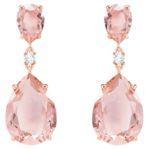 Orecchini a goccia a buco Vintage, rosa, Placcato oro rosa - Swarovski, 5424361