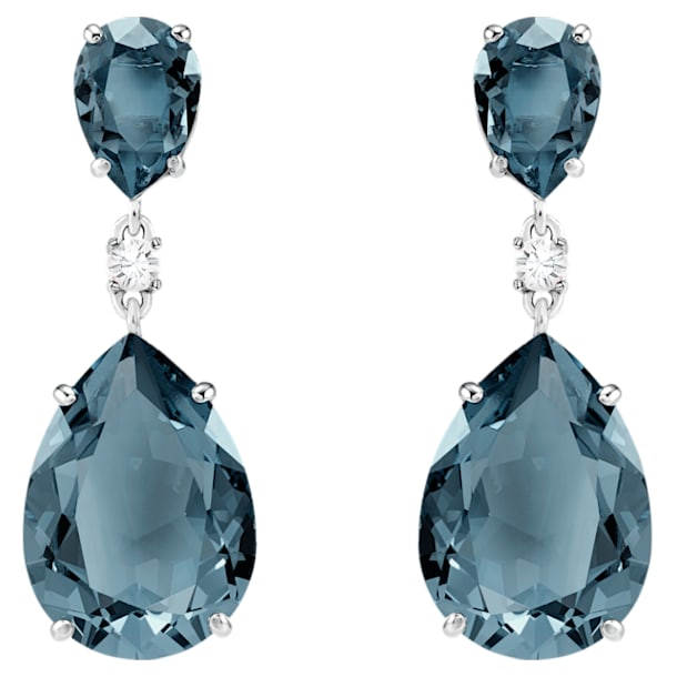 Vintage Drop Pierced Earrings, Teal, Rhodium plated - Swarovski, 5424362