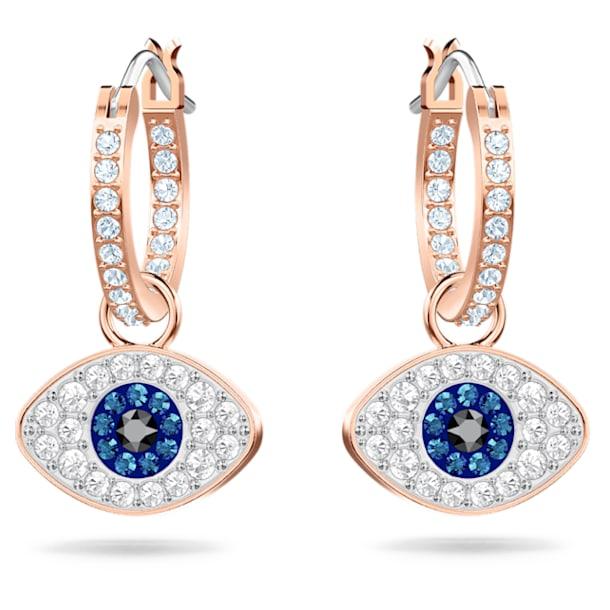 Swarovski Symbolic earrings, Evil eye, Blue, Rose-gold tone plated - Swarovski, 5425857