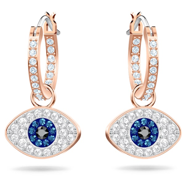 Brincos Swarovski Symbolic, Olho grego, Azul, Lacado a rosa dourado - Swarovski, 5425857