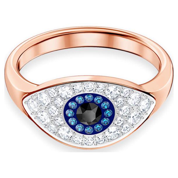 Bague Swarovski Symbolic, Œil porte-bonheur, Bleu, Métal doré rose - Swarovski, 5425858
