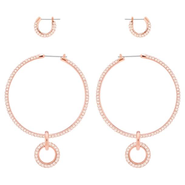Conjunto de pendientes Stone, rosa, Baño en tono Oro Rosa - Swarovski, 5426004