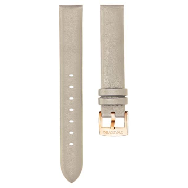 Cinturino per orologio 14mm, Pelle, grigio talpa, placcato color oro rosa - Swarovski, 5426597