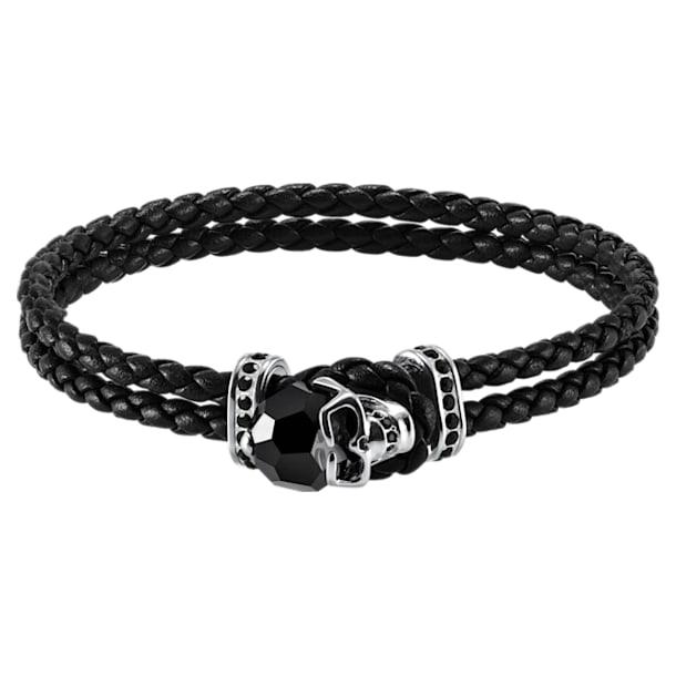 Taddeo Bracelet, Leather, Black, Palladium plated - Swarovski, 5427135