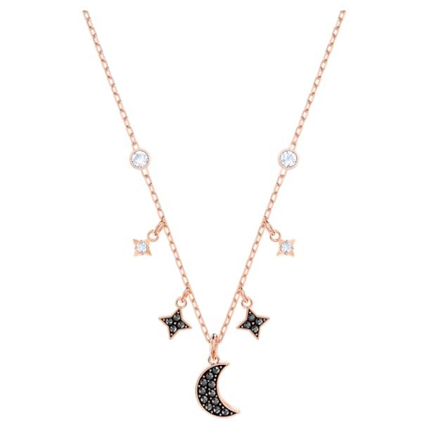 Swarovski Symbolic Moon Necklace, Black, Rose-gold tone plated - Swarovski, 5429737