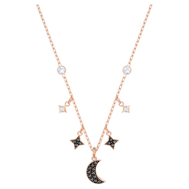 Swarovski Symbolic Moon Necklace, Black, Rose-gold tone plated - Swarovski, 5429737