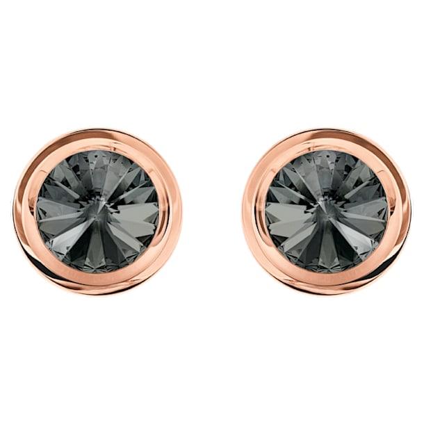 Boutons de Manchettes Round, gris, Métal doré rose - Swarovski, 5429900