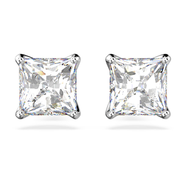 Attract Stud Pierced Earrings, White, Rhodium plated - Swarovski, 5430365