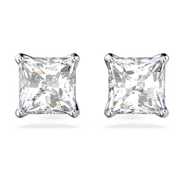Orecchini a lobo Attract, Cristallo taglio Square, Bianco, Placcato rodio - Swarovski, 5430365