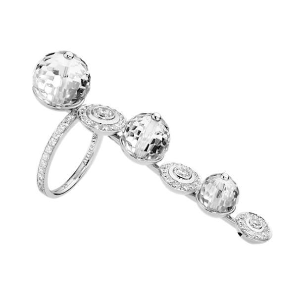 Concentric Long Ring, Swarovski Crystal & Swarovski Created Diamonds, 18K White Gold, Size 52 - Swarovski, 5430509