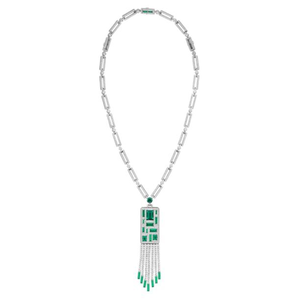 Mosaic Necklace, Swarovski Created Emeralds & Swarovski Created Diamonds, 18K White Gold - Swarovski, 5430521