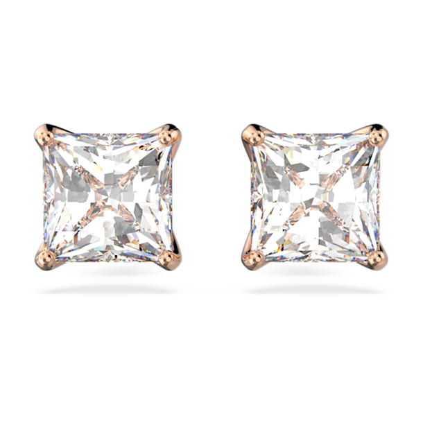 Attract stud earrings, Square cut crystal, White, Rose gold-tone plated - Swarovski, 5431895
