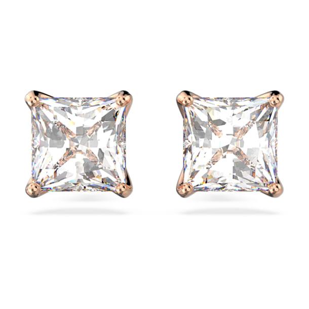 Clous d'oreilles Attract, Cristal taille carré, Blanc, Métal doré rose - Swarovski, 5431895
