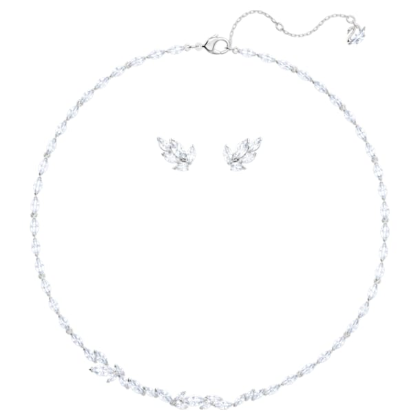 Louison Set, White, Rhodium plated - Swarovski, 5435164