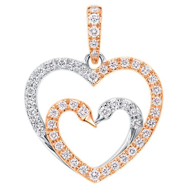 18K WG/RG Dia Kissing Swans Love Pendant - Swarovski, 5436193
