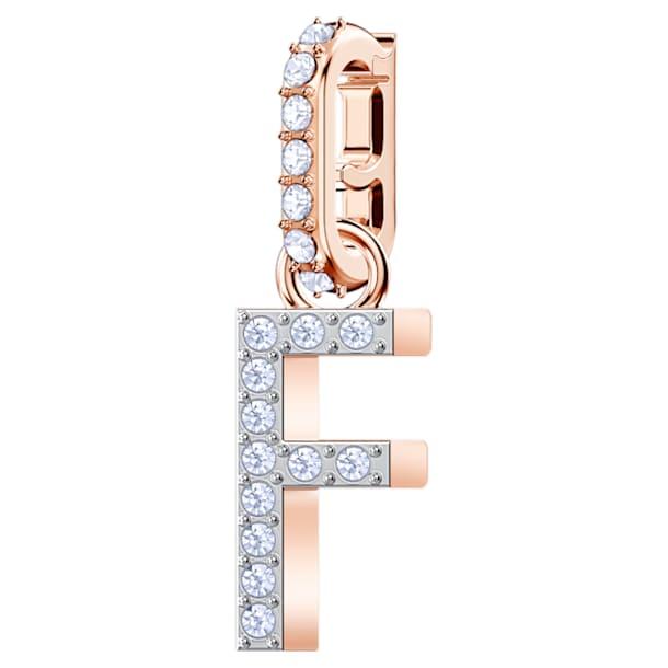 Swarovski Remix Collection Charm F, White, Rose-gold tone plated - Swarovski, 5437616