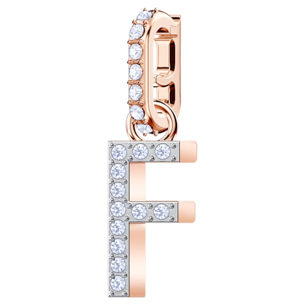 Swarovski Remix Collection Charm F, blanco, Baño en tono Oro Rosa - Swarovski, 5437616