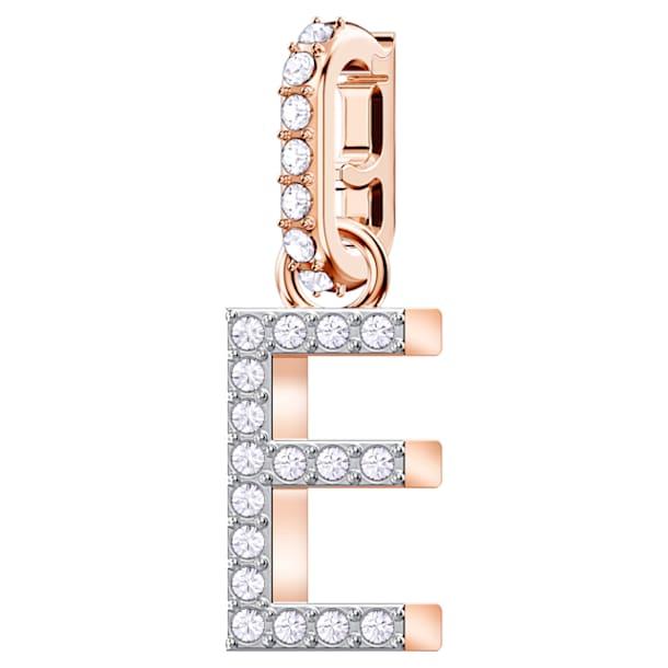 Swarovski Remix Collection Charm E, 白色, 镀玫瑰金色调 - Swarovski, 5437621