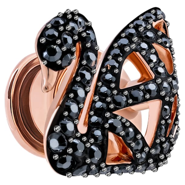 Facet Swan Brooch, Black, Rose-gold tone plated - Swarovski, 5439870