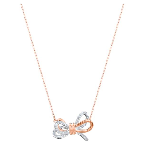 Lifelong Bow 链坠, 蝴蝶结, 白色, 多种金属润饰 - Swarovski, 5440636
