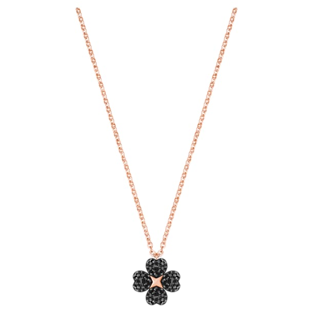 Pendente Latisha Flower, nero, Placcato oro rosa - Swarovski, 5444354