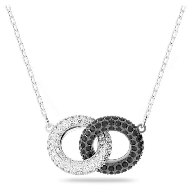 Collar Stone, Circular, Negro, Baño de rodio - Swarovski, 5445706