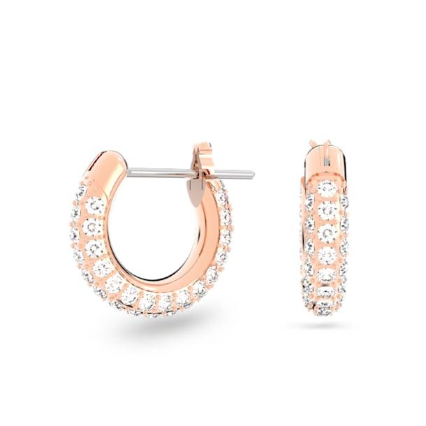 Stone hoop earrings, Small, White, Rose gold-tone plated - Swarovski, 5446008
