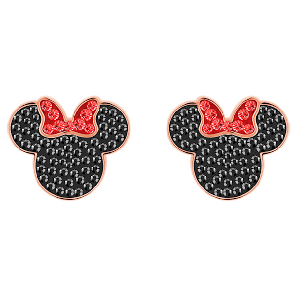 Boucles d'oreilles Mickey & Minnie, noir, Métal doré rose - Swarovski, 5446390