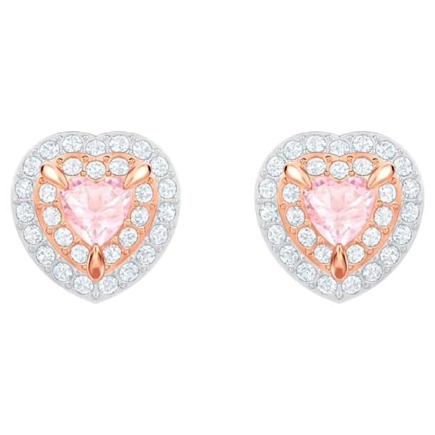 One Stud Pierced Earrings, Multi-colored, Rose-gold tone plated - Swarovski, 5446995