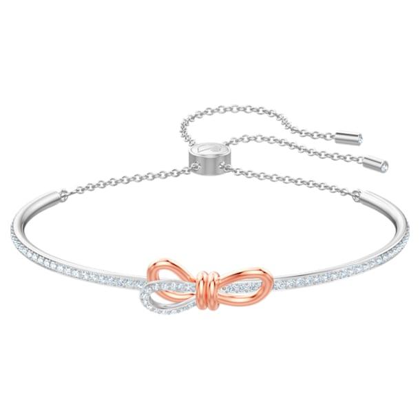 Lifelong Bow armband, Strik, Wit, Gemengde metaalafwerking - Swarovski, 5447079