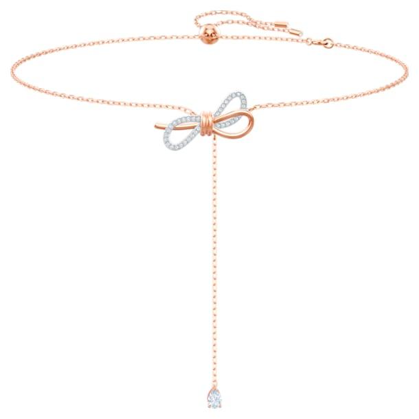 Lifelong Bow Y 네크리스, 리본, 화이트, 믹스메탈 피니시 - Swarovski, 5447082