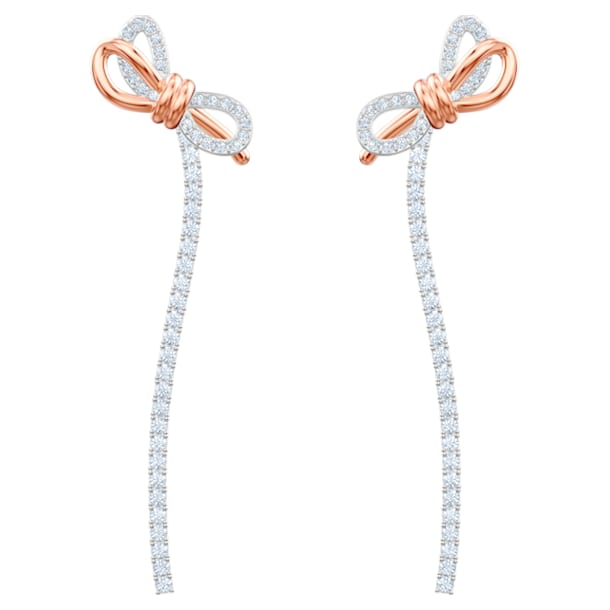 Boucles d'oreilles Lifelong Bow, blanc, Finition mix de métal - Swarovski, 5447083