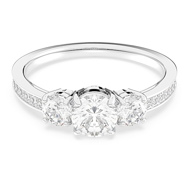 Δαχτυλίδι Attract Trilogy, Στρογγυλό, Λευκό, Επιμετάλλωση ροδίου - Swarovski, 5448843