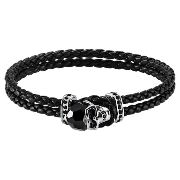 Taddeo Bracelet, Leather, Black, Palladium plated - Swarovski, 5448905