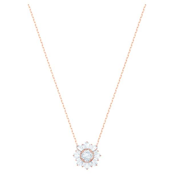 Pendentif Sunshine, Soleil, Blanc, Métal doré rose - Swarovski, 5451376
