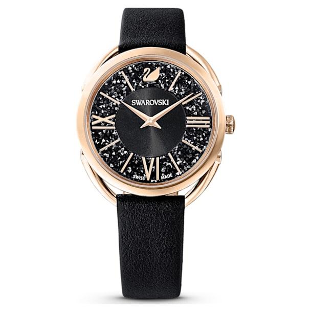 Crystalline Glam Watch, Leather Strap, Black, Rose-gold tone PVD - Swarovski, 5452452