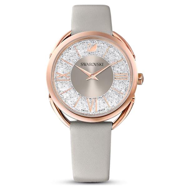Crystalline Glam horloge, Lederen band, Grijs, Roségoudkleurig PVD - Swarovski, 5452455