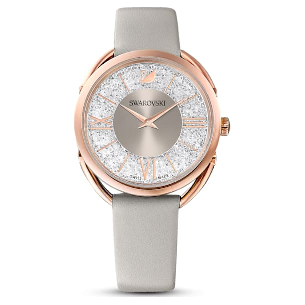 Crystalline Glam Watch, Leather strap, Grey, Rose-gold tone PVD - Swarovski, 5452455