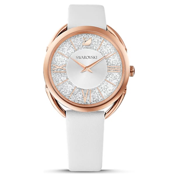 Crystalline Glam Watch, Leather Strap, White, Rose-gold tone PVD - Swarovski, 5452459